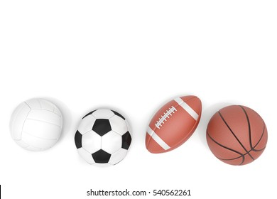 Sports balls with copy space isolated on a white background. 3D illustration