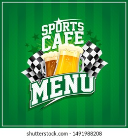 Sports cafe menu card with beer mugs and checkered flags, rasterized version