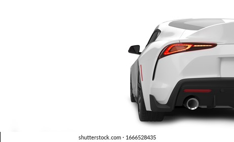 Sports car 3D rendering isolated on white background. Rear view.