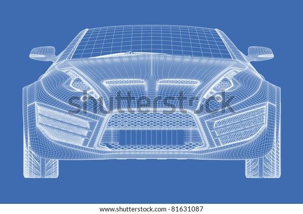 Sports Car Blueprint Non Branded Concept Stock Illustration 81631087