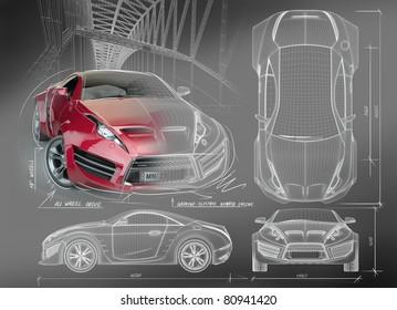 Sports car blueprints. Non branded concept car.