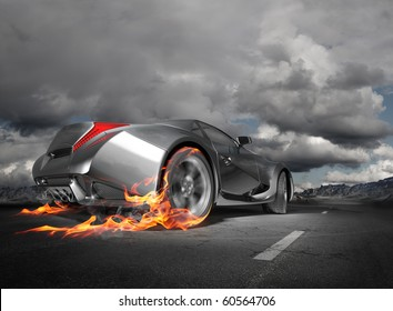 Sports car burnout.  Original car design.