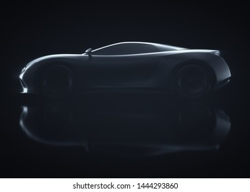 Sports car concept made in 3D software. Concept image of prototype and aerodynamic tests. 3D illustration.