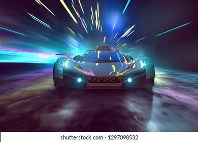 Sports car drives through surreal night scene (3D Rendering)