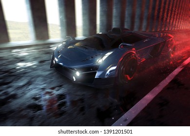 Sports car drives through tunnel (3D rendering)