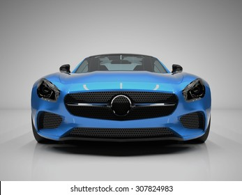 Sports car front view. The image of a sports blue car on a white background