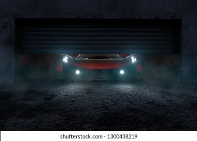 Sports car is in a garage (3D Rendering)