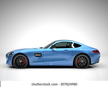 Sports car left view. The image of a sports blue car on a white background