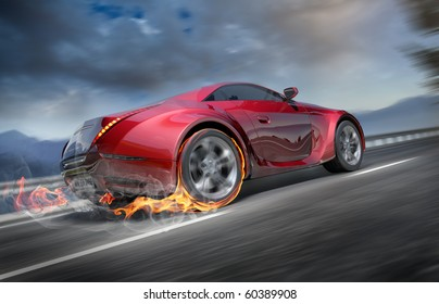 Sports car moving on the road. Original car design.