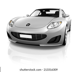 Sports car on a white background.