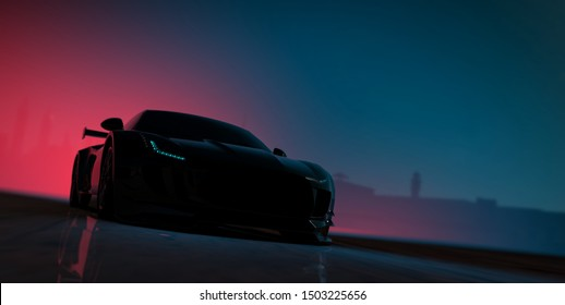 Sports car silhouette - front view - 3d illustration