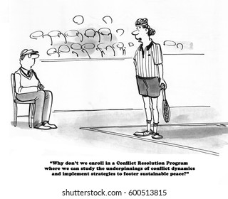 Sports cartoon about a tennis player and a line judge who have a conflict.