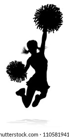 Sports cheerleader in silhouette with pompoms