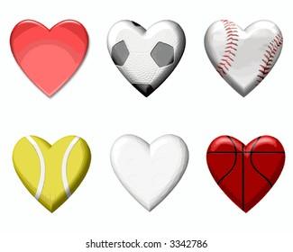 Sports Design Elements in Heart Shape