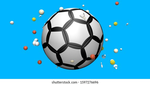 Sports elements. soccer ball, shuttercock, tennis ball, basket ball, bowling pin and base ball. 3d rendering isolated on blue background