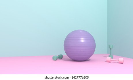 Sports equipment - a ball, dumbbells on a bright background in the room, studio, training hall. Care of health, body care and figure. Intensive training, pilates, yoga, 3D, render, illustration.