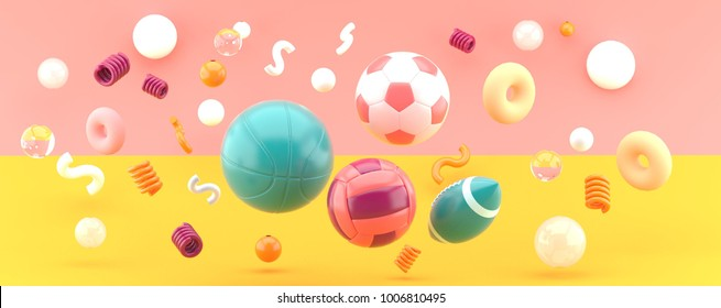 Sports equipment on orange and pink background 3d render.