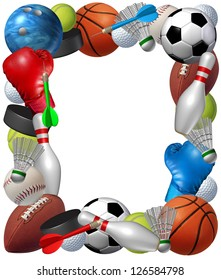 060c9642742 Sports frame with sport equipment from basketball boxing golf bowling  tennis badminton football soccer darts ice