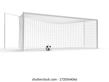Sports game soccer football goal and ball 3d rendering isolated white background