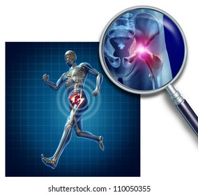 Sports Hip injury with a running athlete showing the anatomical skeleton with a red highlight on the hips magnified with a magnifying glass as a symbol of body joint pain.