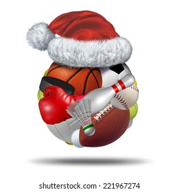 Sports Holiday gift  with a christmas santa claus hat on a sphere made with a group of sport equipment as football basketball hockey golf soccer bowling tennis badminton football and baseball.