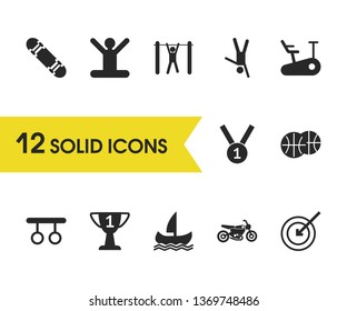 Sports icons set with target, tourniquet, on one hand elements. Set of sports icons and medallion concept. Editable  elements for logo app UI design.