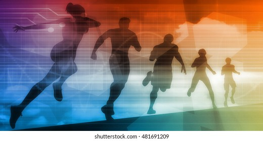 Sports Illustration Abstract Background with Silhouette Art 3D Render