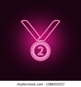 sports medal for second place icon. Elements of Sucsess and awards in neon style icons. Simple icon for websites, web design, mobile app, info graphics
