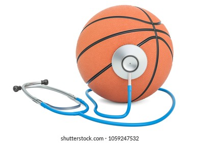 Sports medicine in basketball concept. 3D rendering isolated on white background