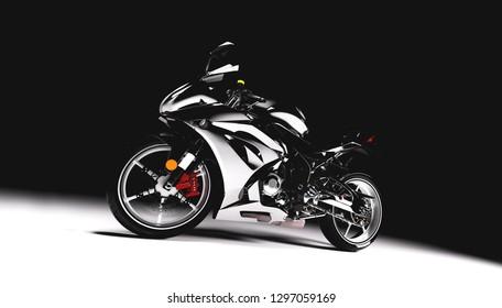 Sports motorcycle on black background. Speed, extreme sports, transportation, brandless vehicle. 3D illustration.