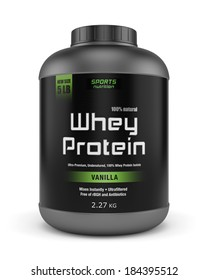 Sports nutrition, bodybuilding supplements: jar of vanilla flavored whey protein isolated on white background.