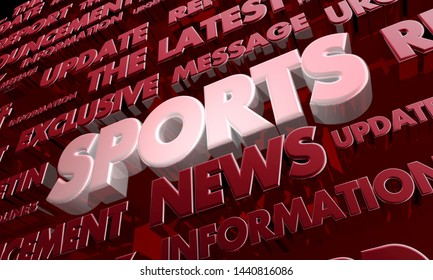 Sports Report News Scores Update Word Collage 3d Illustration