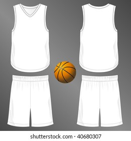 Sports series. Realistic team basketball uniform: shorts and sleeveless v-neck jersey  (front and back). Blank template - just add your art.