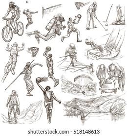 SPORTARTEN. Sportveranstaltungen auf der ganzen Welt. Sammlung von handgezeichneten Illustrationen. Set von Zeichnungen in voller Größe auf weißem Hintergrund, einzeln.
