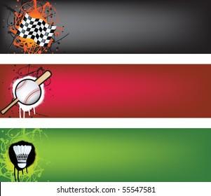 sports web banner grunge style colour illustration