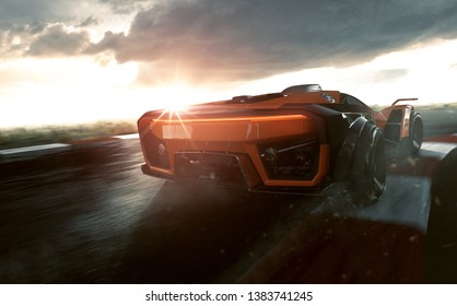 Sportscar on a racing track (3D Rendering)