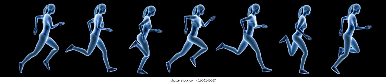 Sportswoman running sequence movements isolated on a black background. Hologram 3d render banner illustration. Sport, fitness, health, human biomechanics concepts.