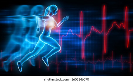 Sportswoman or sporty woman running fast with futuristic hologram effect and ekg curves. Sport, run, health, fitness, workout, medical, science, 3d rendering illustration.