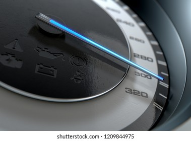 A sporty speedometer with a glowing blue needle pointing towards a high speed on an isolated black background - 3D render