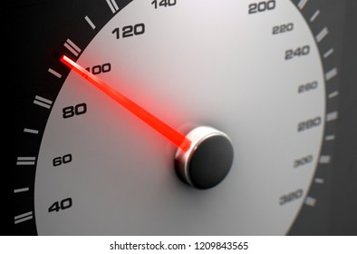 A sporty speedometer with a glowing orange needle pointing towards an average speed on an isolated black background - 3D render