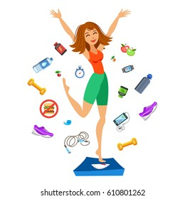 Healthy Women Cartoon Hd Stock Images Shutterstock Benji risley, isabella crovetti, lauren. https www shutterstock com image illustration sporty young woman jumping on scales 610801262