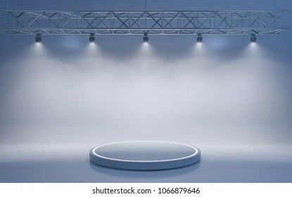 Spotlight background and lamp with circular stage. 3d rendering