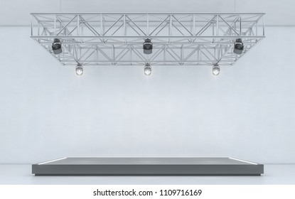 Spotlight background and lamp with stage. 3d rendering