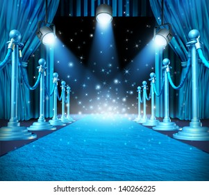 In the spotlight and center of attention with blue glowing lights on stage as a concept for entertainment with roped barriers and glowing cyan light with shiny sparkles on a show event background.