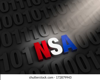 """A spotlight illuminates a bold, red, white and blue """"NSA"""" hiding on a dark background of """"1""""s and """"0""""s."""