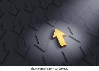 A spotlight illuminates a bright, gold up arrow on a dark gray background filled with down arrows.