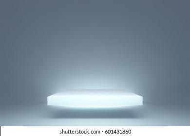 Spotlight Illustration. Blue Room Studio Background. Square Podium illuminated by Spotlights. Product Showcase. Clear Photographer Studio. Crisp and Clear White Floor.