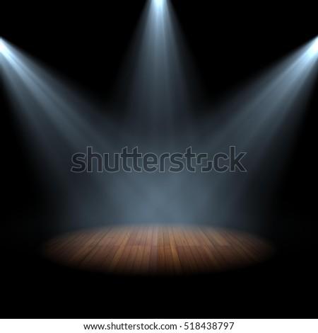 Spotlight On Stage Wood Floor E Stock Illustration 518438797