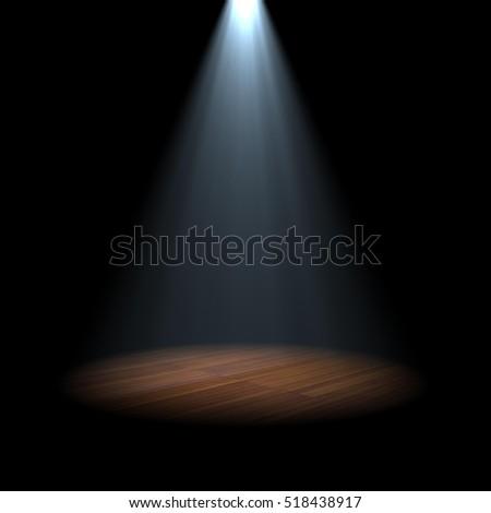 Spotlight On Stage Wood Floor D Stock Illustration 518438917