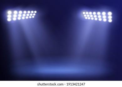 Spotlight Towers on Night Stadium in Smoke. Bright Spotlights Flash Flare in Blue Fog Raster Illustration